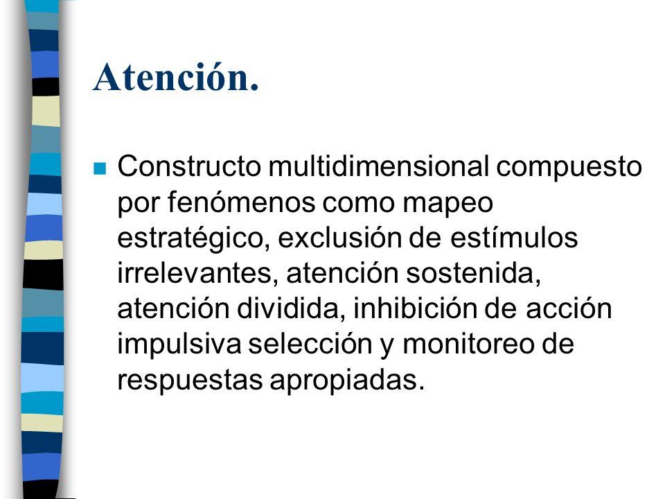 Atención. n Constructo multidimensional compuesto por fenómenos como mapeo estratégico, exclusión de estímulos irrelevantes, atención sostenida, atenc