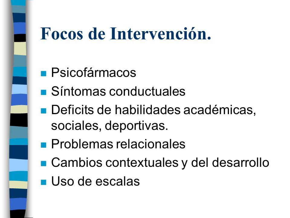 Focos de Intervención. n Psicofármacos n Síntomas conductuales n Deficits de habilidades académicas, sociales, deportivas. n Problemas relacionales n