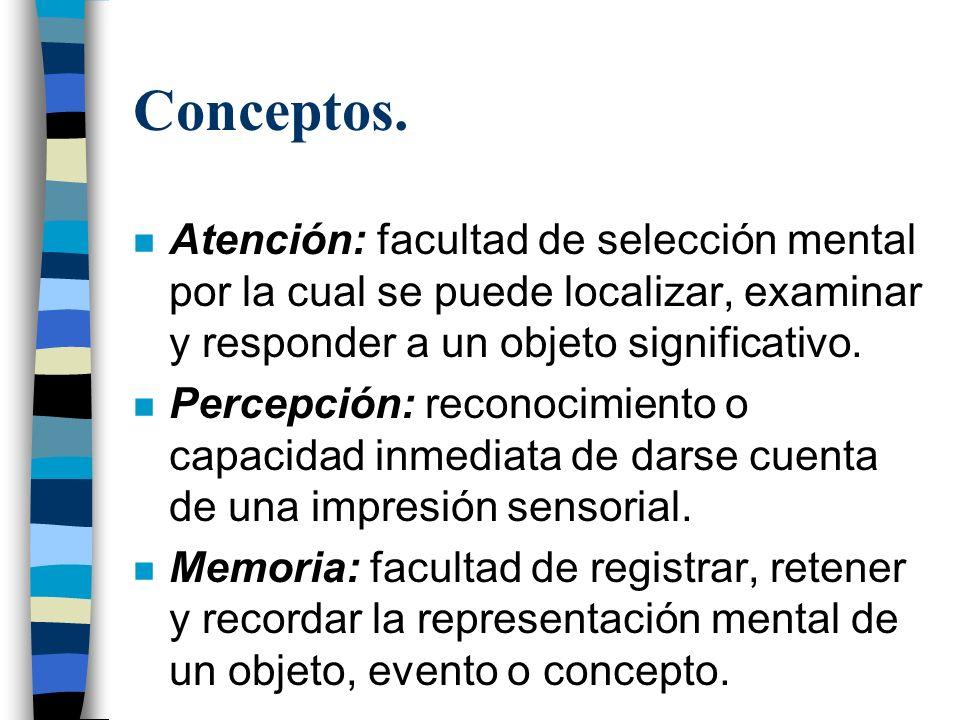 Conceptos. n Atención: facultad de selección mental por la cual se puede localizar, examinar y responder a un objeto significativo. n Percepción: reco
