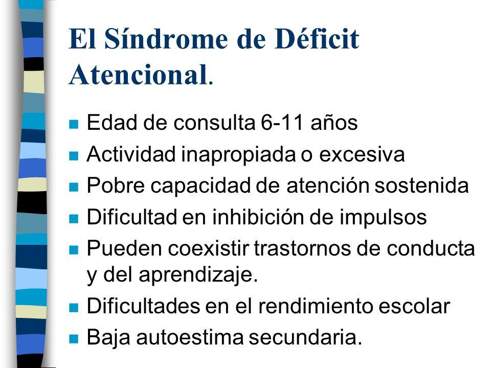 El Síndrome de Déficit Atencional. n Edad de consulta 6-11 años n Actividad inapropiada o excesiva n Pobre capacidad de atención sostenida n Dificulta