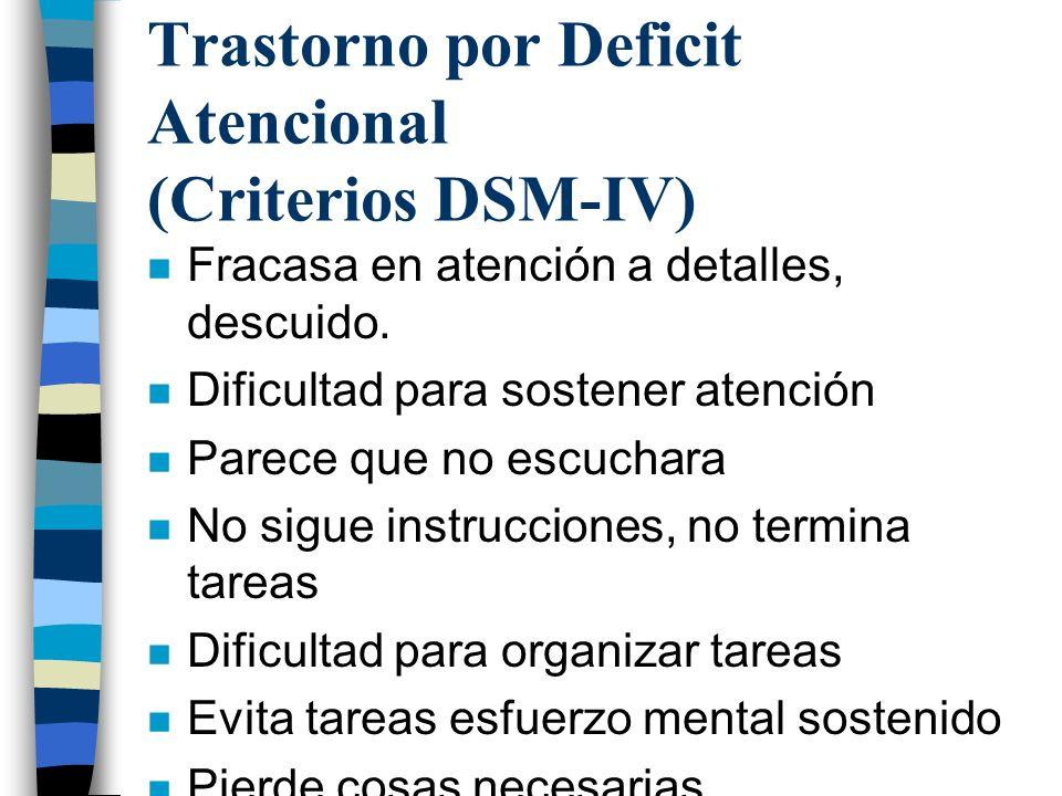 Trastorno por Deficit Atencional (Criterios DSM-IV) n Fracasa en atención a detalles, descuido. n Dificultad para sostener atención n Parece que no es