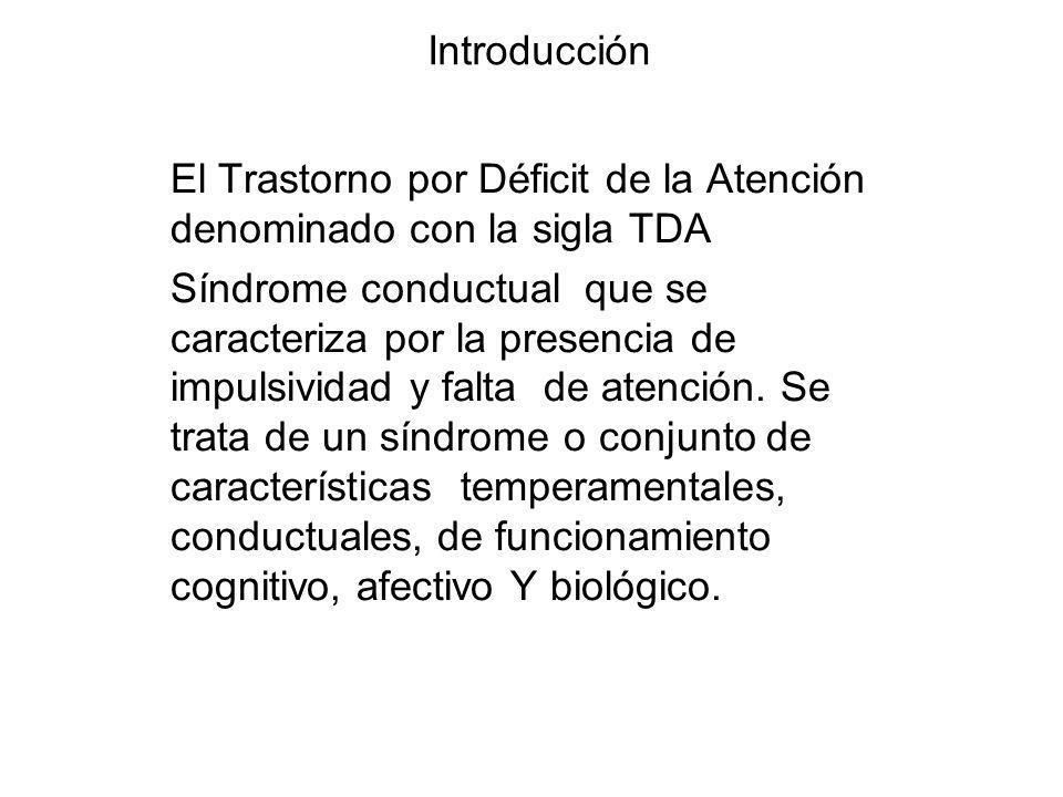 Introducción El Trastorno por Déficit de la Atención denominado con la sigla TDA Síndrome conductual que se caracteriza por la presencia de impulsivid