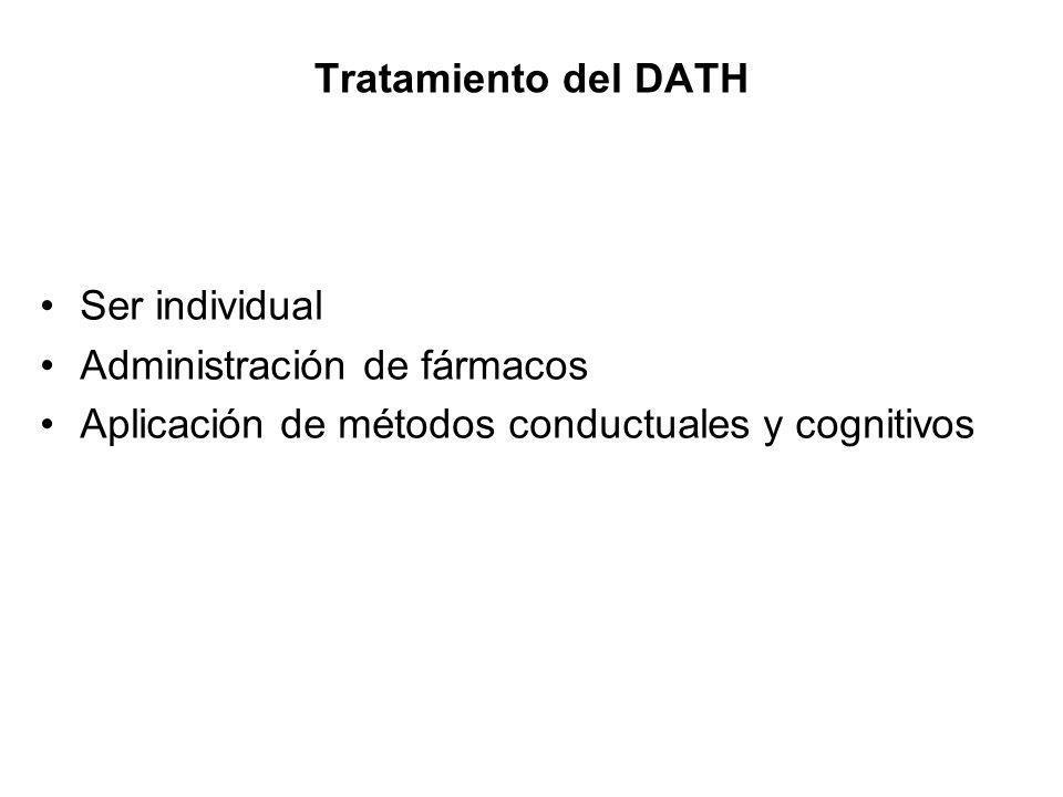 Tratamiento del DATH Ser individual Administración de fármacos Aplicación de métodos conductuales y cognitivos
