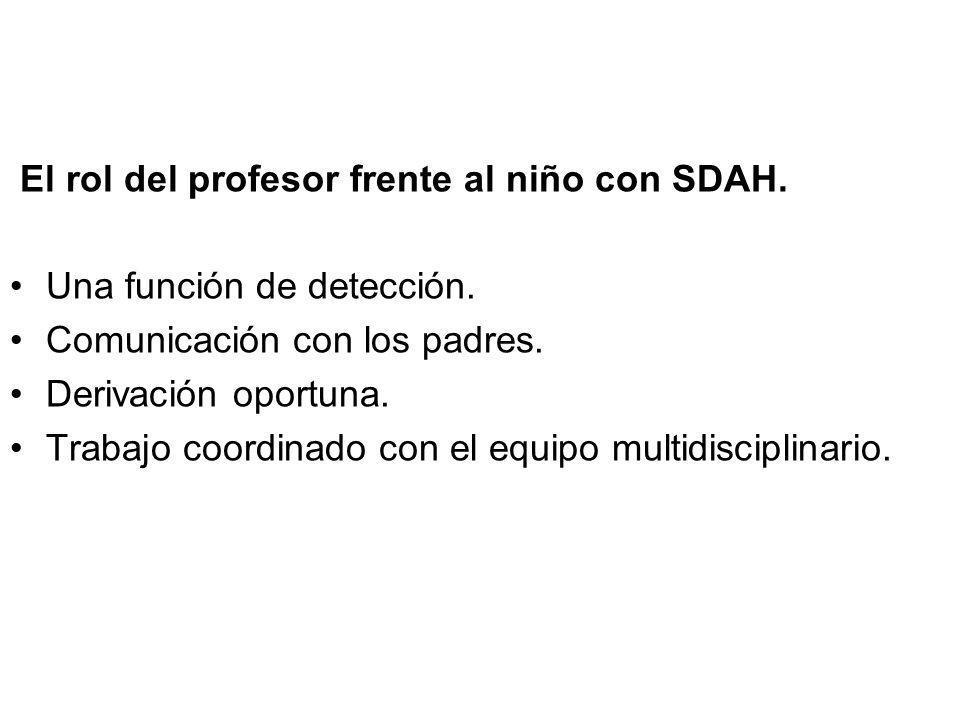 El rol del profesor frente al niño con SDAH. Una función de detección. Comunicación con los padres. Derivación oportuna. Trabajo coordinado con el equ