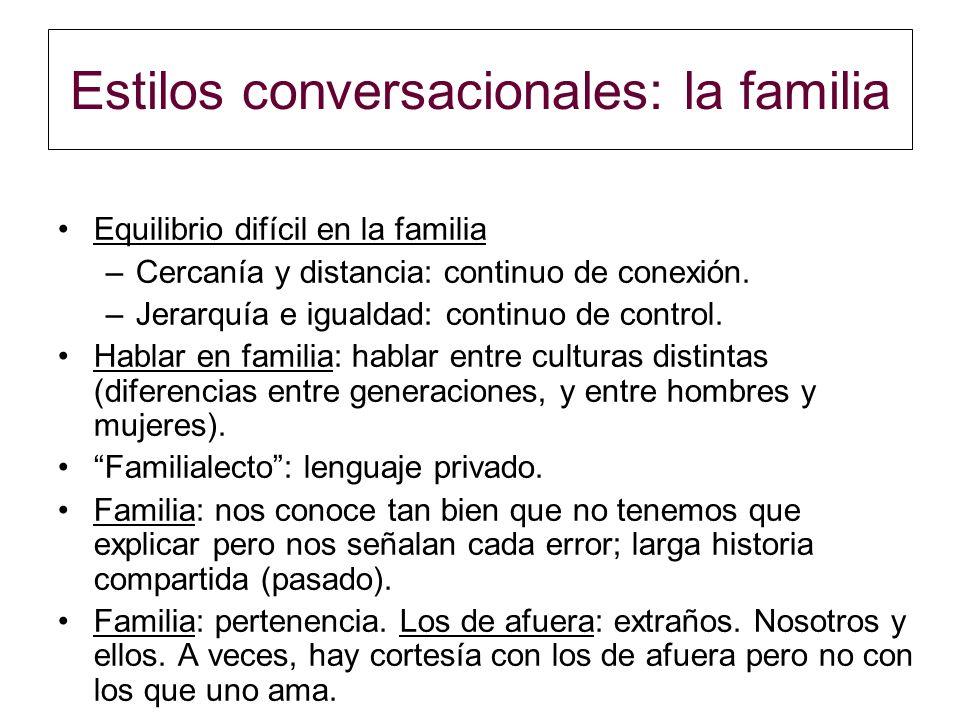 Estilos conversacionales: la familia Equilibrio difícil en la familia –Cercanía y distancia: continuo de conexión. –Jerarquía e igualdad: continuo de