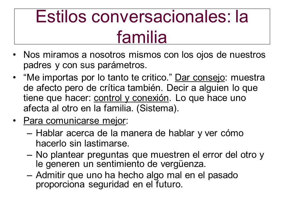Estilos conversacionales: la familia Nos miramos a nosotros mismos con los ojos de nuestros padres y con sus parámetros. Me importas por lo tanto te c