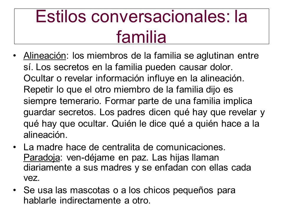Estilos conversacionales: la familia Alineación: los miembros de la familia se aglutinan entre sí. Los secretos en la familia pueden causar dolor. Ocu