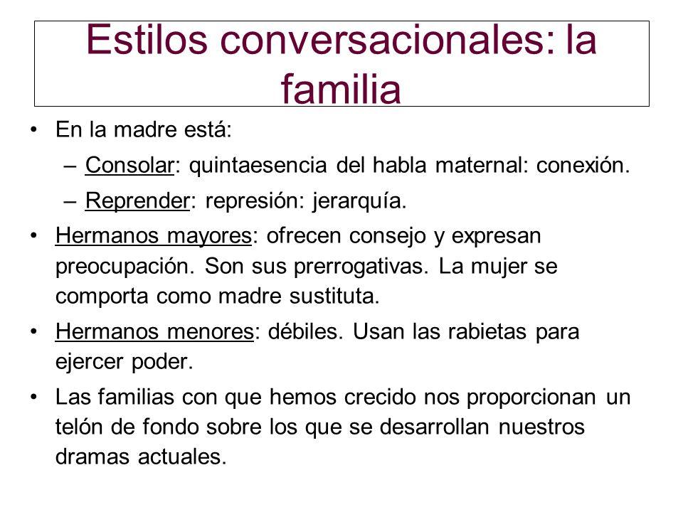 Estilos conversacionales: la familia En la madre está: –Consolar: quintaesencia del habla maternal: conexión. –Reprender: represión: jerarquía. Herman