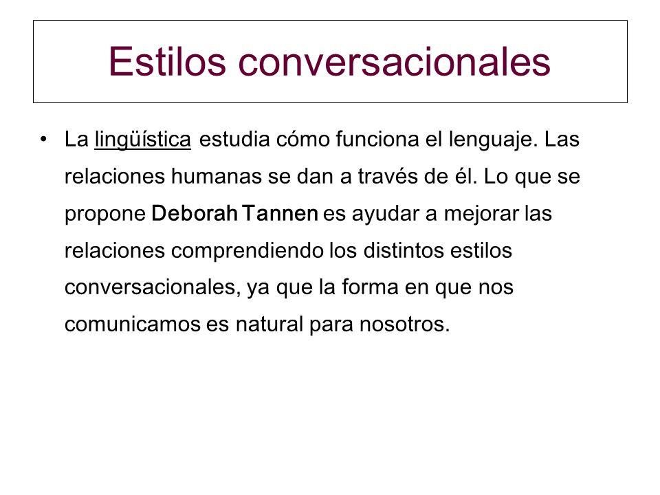 Estilos conversacionales La lingüística estudia cómo funciona el lenguaje. Las relaciones humanas se dan a través de él. Lo que se propone Deborah Tan