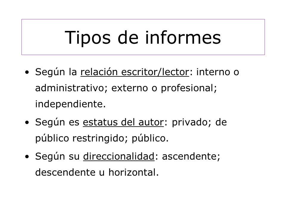Tipos de informes Según la relación escritor/lector: interno o administrativo; externo o profesional; independiente.