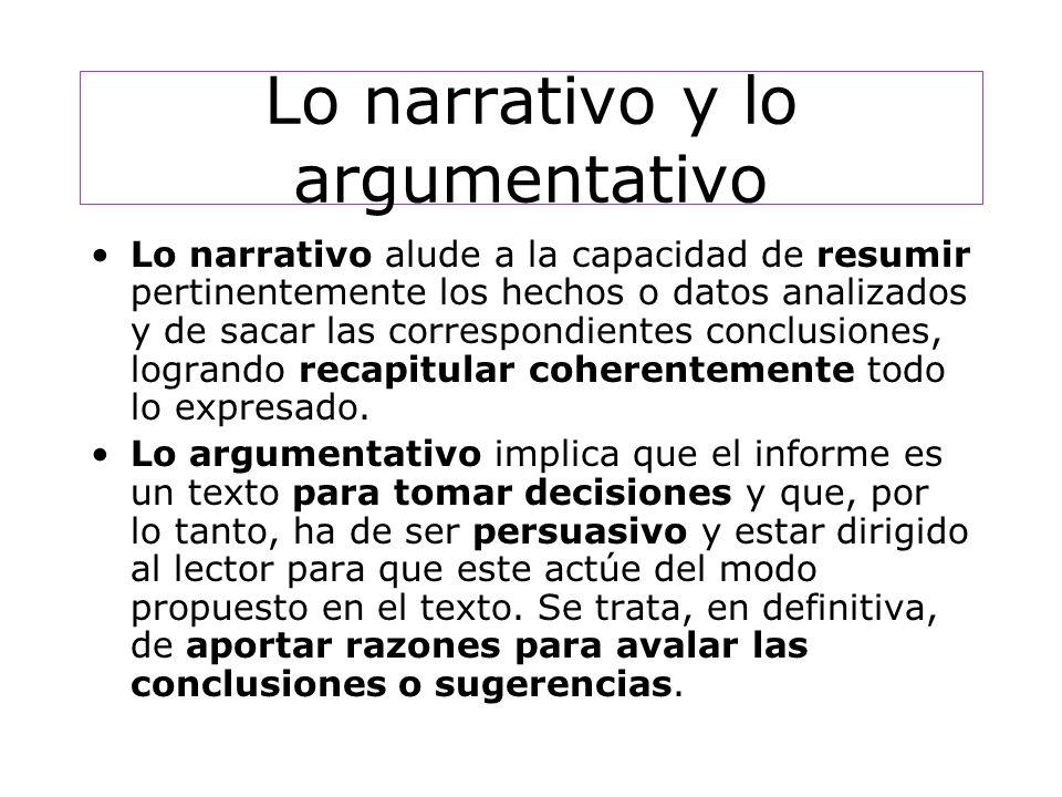 Lo narrativo y lo argumentativo Lo narrativo alude a la capacidad de resumir pertinentemente los hechos o datos analizados y de sacar las correspondientes conclusiones, logrando recapitular coherentemente todo lo expresado.