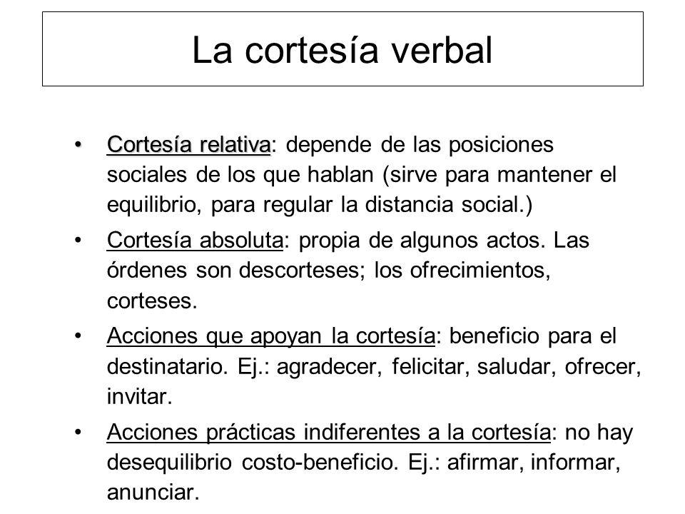La cortesía verbal Cortesía relativaCortesía relativa: depende de las posiciones sociales de los que hablan (sirve para mantener el equilibrio, para r