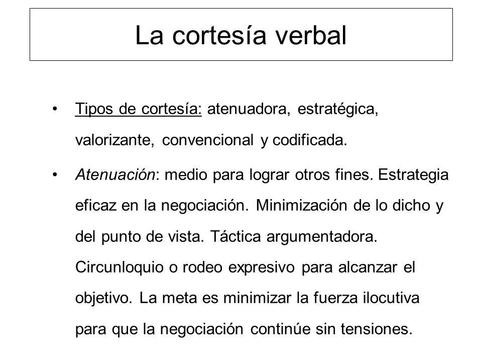 La cortesía verbal Tipos de cortesía: atenuadora, estratégica, valorizante, convencional y codificada. Atenuación: medio para lograr otros fines. Estr