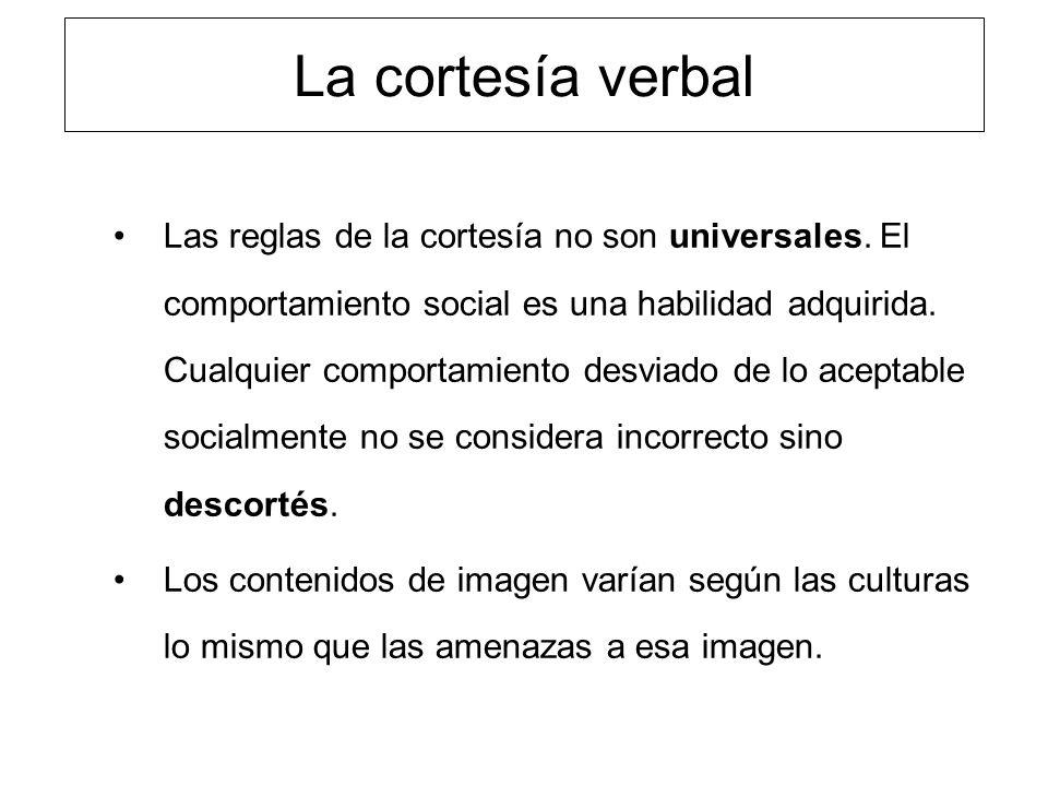 La cortesía verbal Las reglas de la cortesía no son universales. El comportamiento social es una habilidad adquirida. Cualquier comportamiento desviad