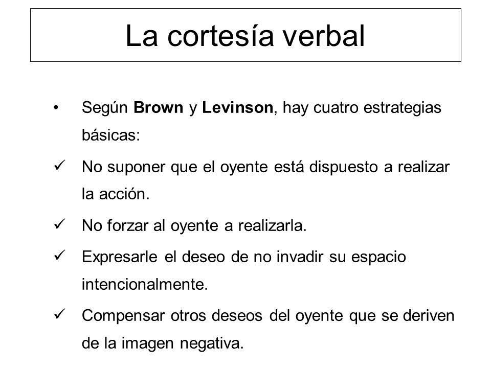La cortesía verbal Según Brown y Levinson, hay cuatro estrategias básicas: No suponer que el oyente está dispuesto a realizar la acción. No forzar al