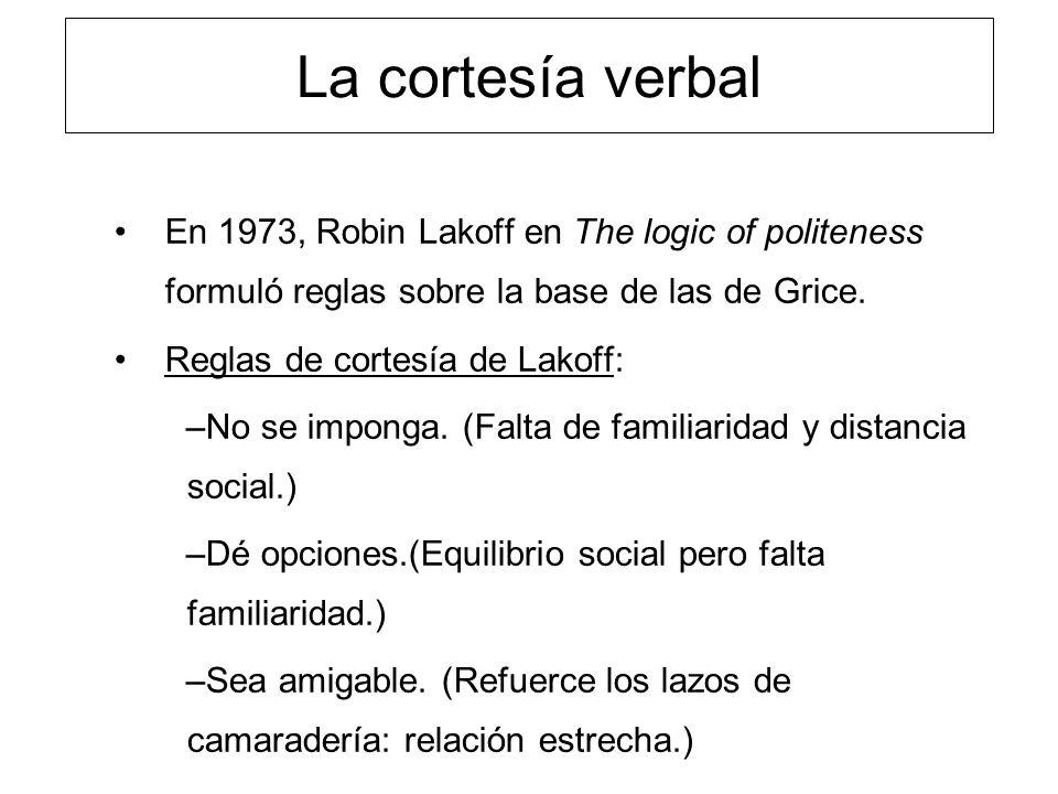 La cortesía verbal En 1973, Robin Lakoff en The logic of politeness formuló reglas sobre la base de las de Grice. Reglas de cortesía de Lakoff: –No se