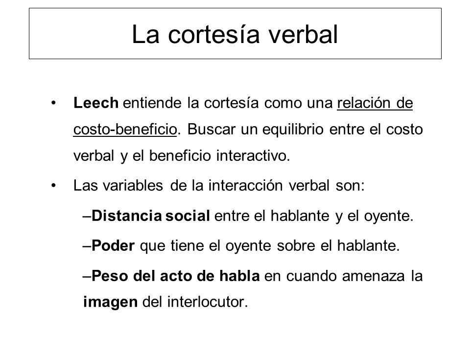 La cortesía verbal Leech entiende la cortesía como una relación de costo-beneficio. Buscar un equilibrio entre el costo verbal y el beneficio interact