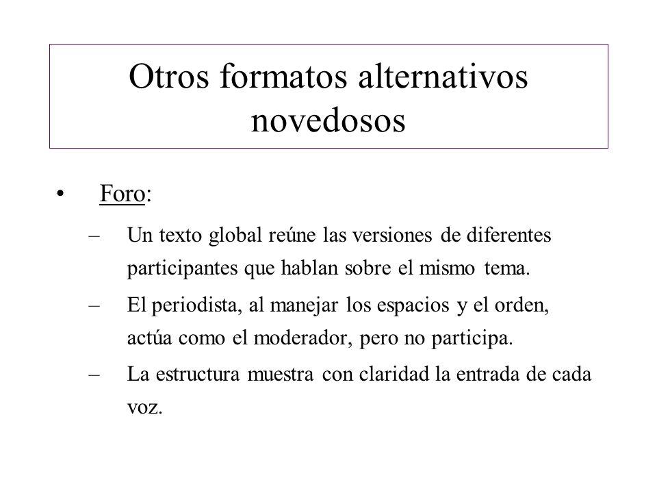 Otros formatos alternativos novedosos Foro: –Un texto global reúne las versiones de diferentes participantes que hablan sobre el mismo tema. –El perio