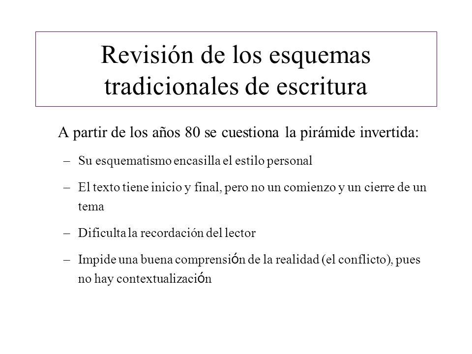 Revisión de los esquemas tradicionales de escritura A partir de los años 80 se cuestiona la pirámide invertida: –Su esquematismo encasilla el estilo p