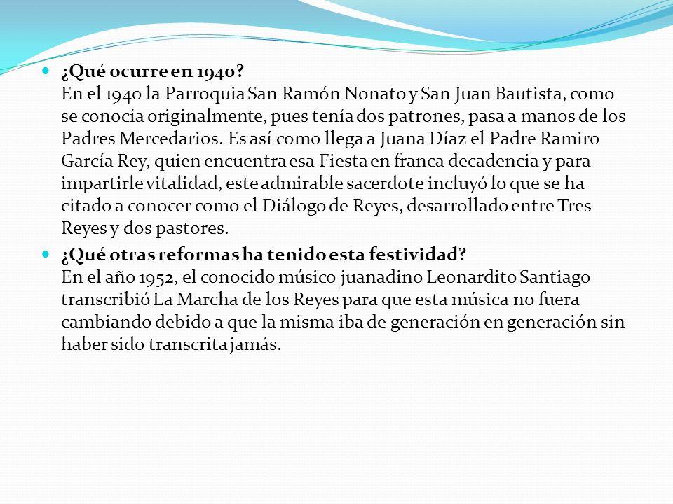 ¿Qué ocurre en 1940? En el 1940 la Parroquia San Ramón Nonato y San Juan Bautista, como se conocía originalmente, pues tenía dos patrones, pasa a mano