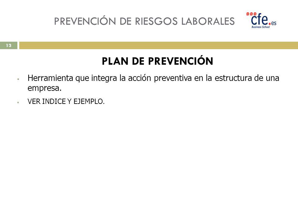 PREVENCIÓN DE RIESGOS LABORALES PLAN DE PREVENCIÓN Herramienta que integra la acción preventiva en la estructura de una empresa. VER INDICE Y EJEMPLO.