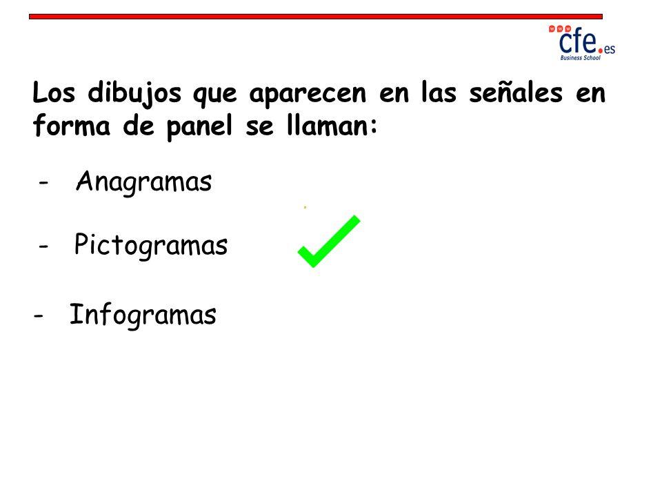 Los dibujos que aparecen en las señales en forma de panel se llaman: - Anagramas - Pictogramas - Infogramas