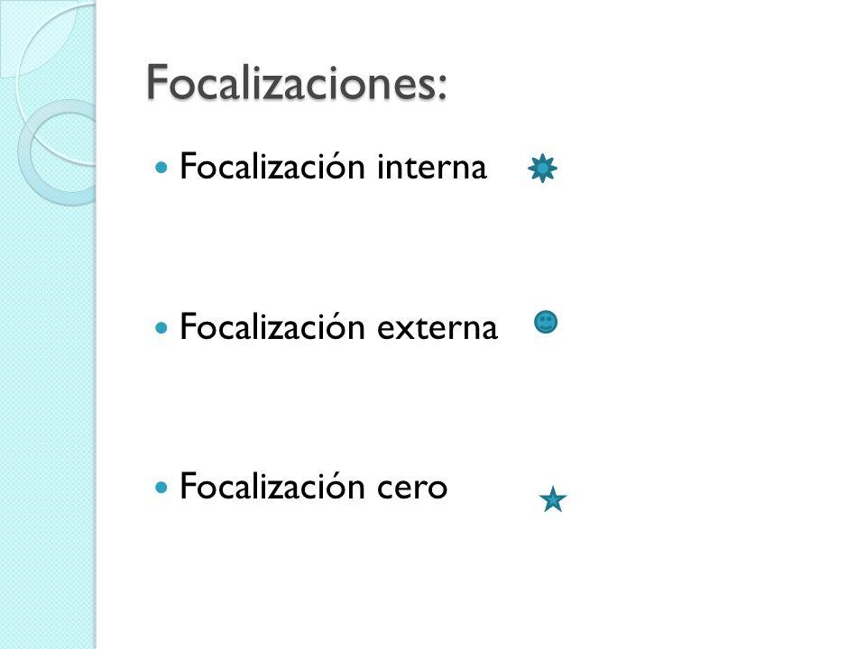 Focalizaciones: Focalización interna Focalización externa Focalización cero