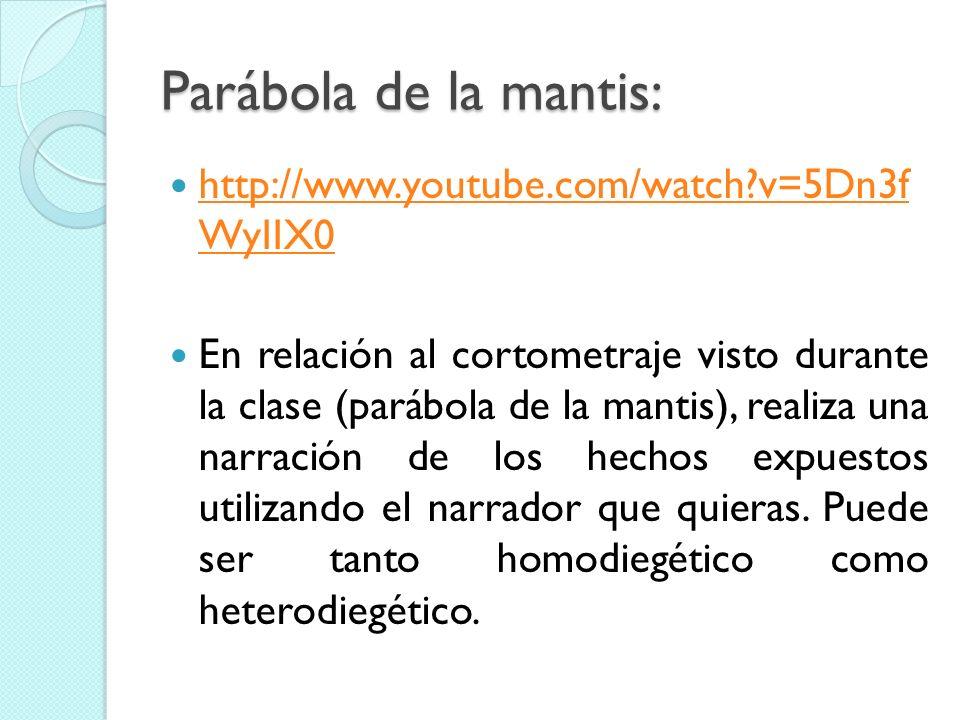 Parábola de la mantis: http://www.youtube.com/watch?v=5Dn3f WyIIX0 http://www.youtube.com/watch?v=5Dn3f WyIIX0 En relación al cortometraje visto duran