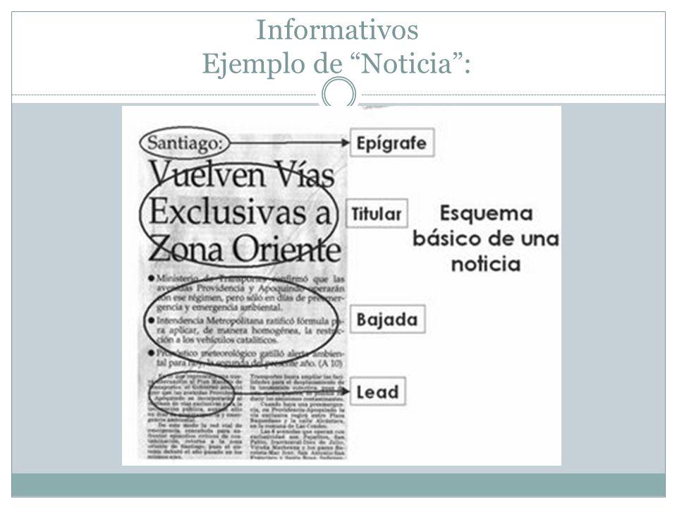 Informativos Ejemplo de Noticia: