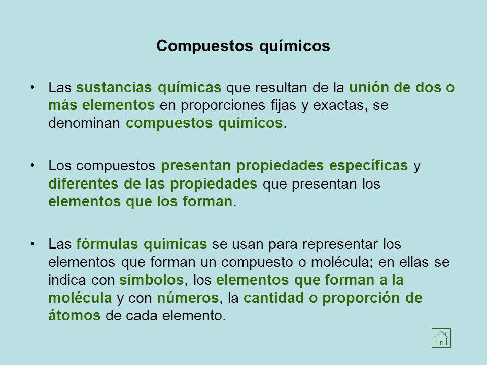Compuestos químicos Las sustancias químicas que resultan de la unión de dos o más elementos en proporciones fijas y exactas, se denominan compuestos q