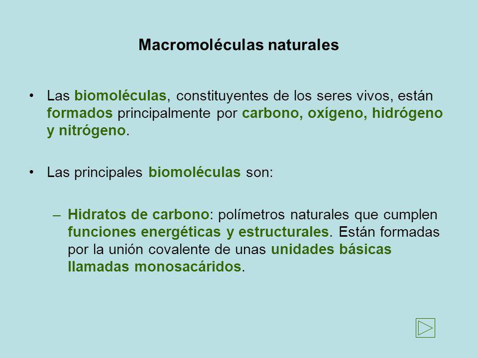 Macromoléculas naturales Las biomoléculas, constituyentes de los seres vivos, están formados principalmente por carbono, oxígeno, hidrógeno y nitrógen