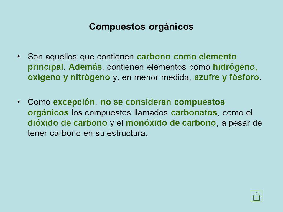 Compuestos orgánicos Son aquellos que contienen carbono como elemento principal. Además, contienen elementos como hidrógeno, oxígeno y nitrógeno y, en