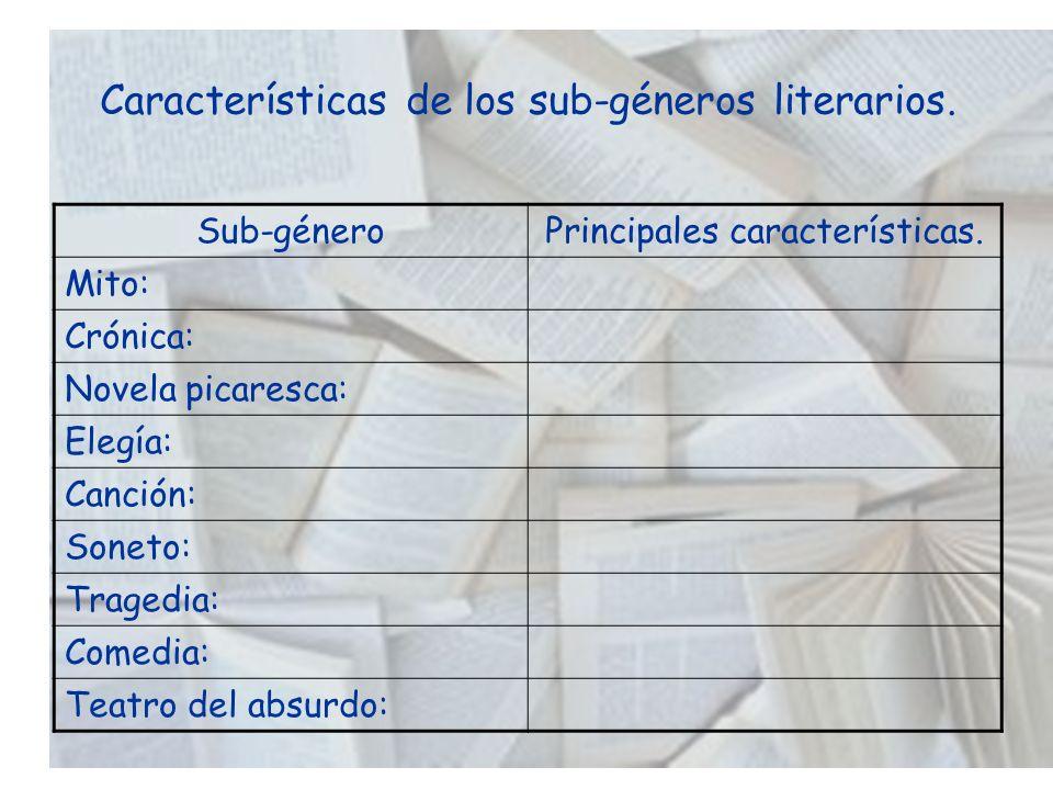 Características de los sub-géneros literarios. Sub-géneroPrincipales características. Mito: Crónica: Novela picaresca: Elegía: Canción: Soneto: Traged