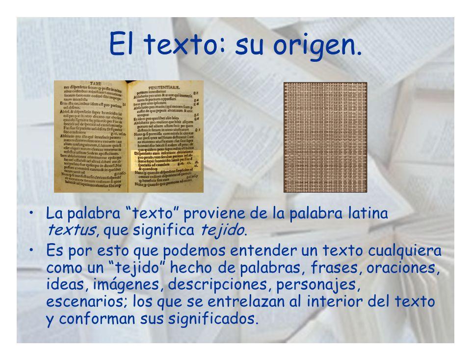 El texto: su origen. La palabra texto proviene de la palabra latina textus, que significa tejido. Es por esto que podemos entender un texto cualquiera