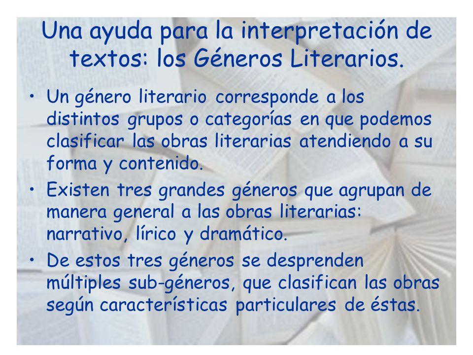 Una ayuda para la interpretación de textos: los Géneros Literarios. Un género literario corresponde a los distintos grupos o categorías en que podemos