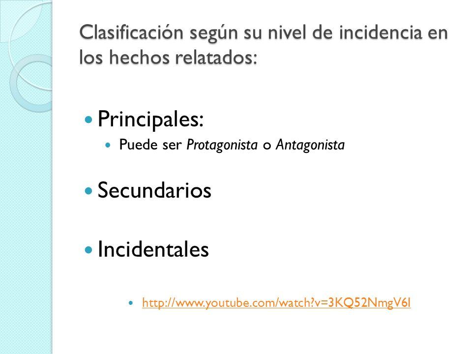 Clasificación según su nivel de incidencia en los hechos relatados: Principales: Puede ser Protagonista o Antagonista Secundarios Incidentales http://