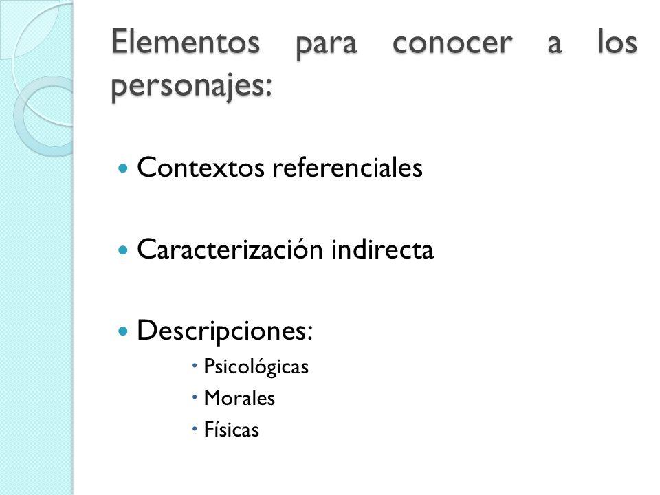 Elementos para conocer a los personajes: Contextos referenciales Caracterización indirecta Descripciones: Psicológicas Morales Físicas