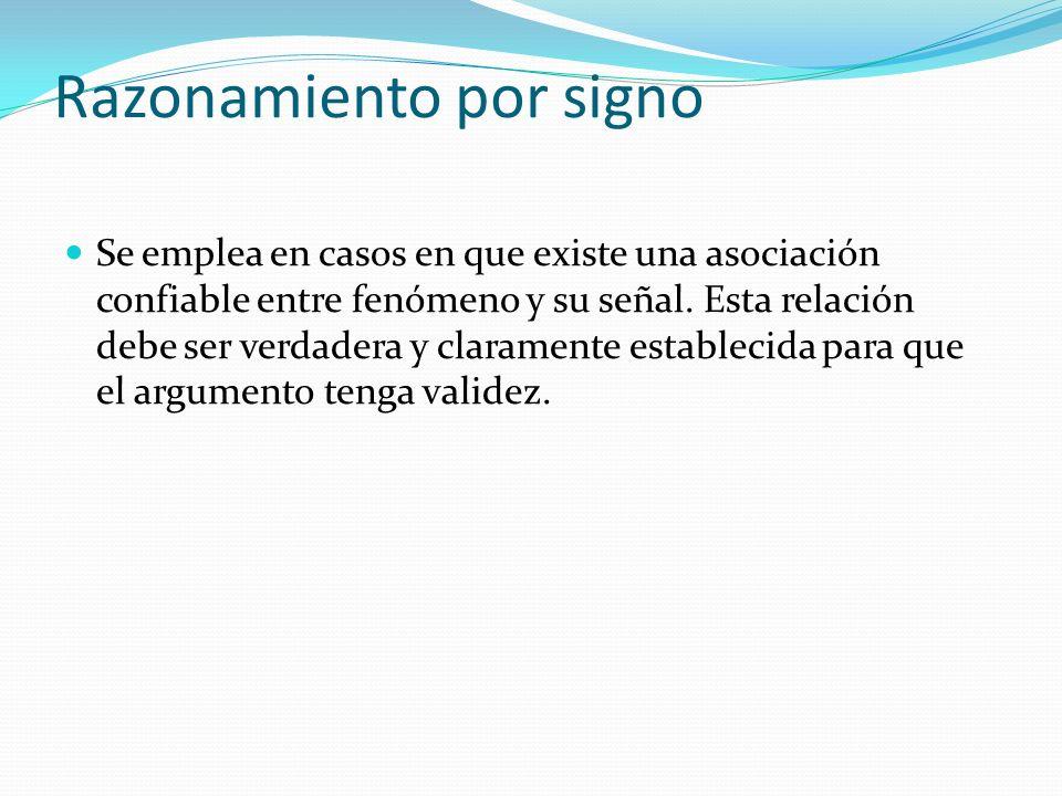 Razonamiento por signo Se emplea en casos en que existe una asociación confiable entre fenómeno y su señal. Esta relación debe ser verdadera y clarame