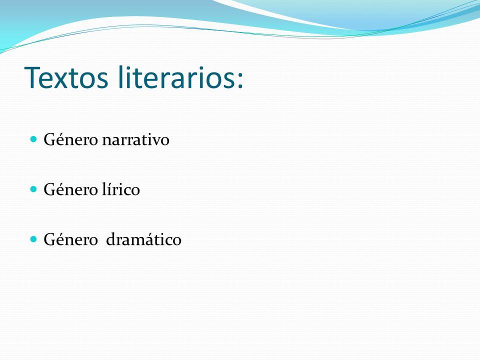 Textos literarios: Género narrativo Género lírico Género dramático