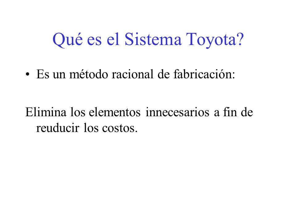 Qué es el Sistema Toyota? Es un método racional de fabricación: Elimina los elementos innecesarios a fin de reuducir los costos.