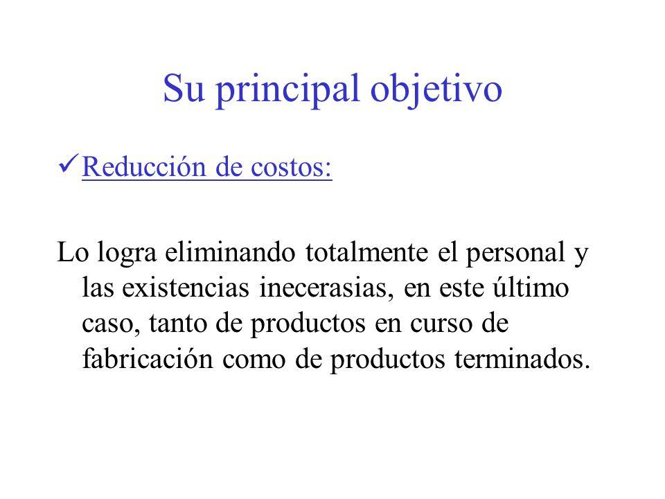Su principal objetivo Reducción de costos: Lo logra eliminando totalmente el personal y las existencias inecerasias, en este último caso, tanto de pro