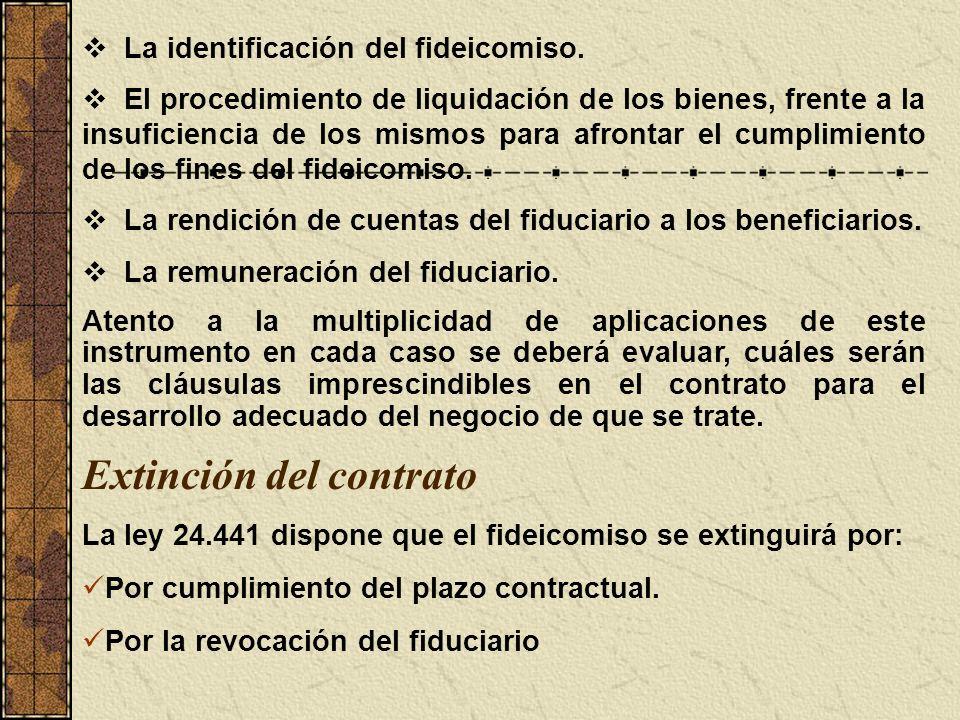 La identificación del fideicomiso. El procedimiento de liquidación de los bienes, frente a la insuficiencia de los mismos para afrontar el cumplimient