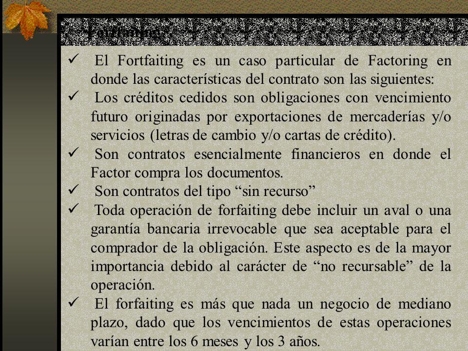 Fortfaiting El Fortfaiting es un caso particular de Factoring en donde las características del contrato son las siguientes: Los créditos cedidos son o