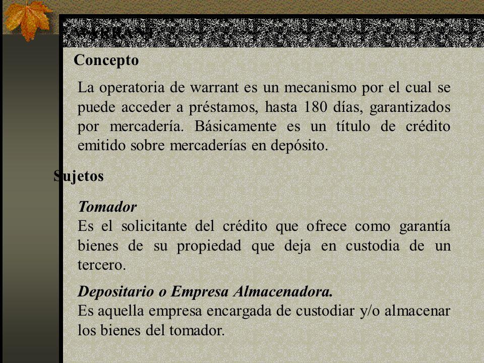 WARRANT Concepto La operatoria de warrant es un mecanismo por el cual se puede acceder a préstamos, hasta 180 días, garantizados por mercadería. Básic