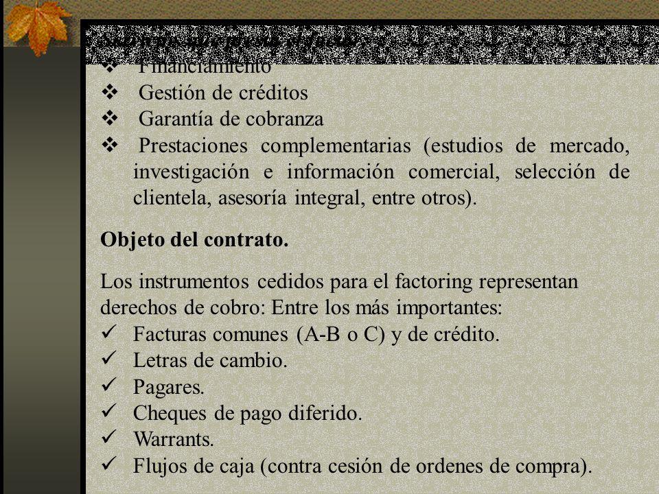 Servicios que presta el factor: Financiamiento Gestión de créditos Garantía de cobranza Prestaciones complementarias (estudios de mercado, investigaci