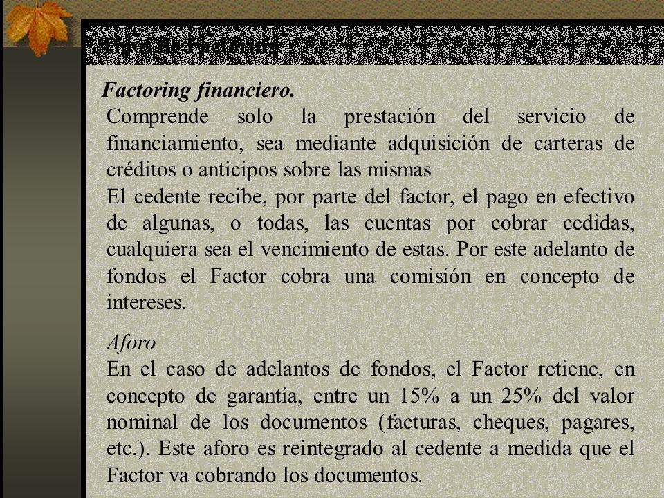Tipos de Factoring Factoring financiero. Comprende solo la prestación del servicio de financiamiento, sea mediante adquisición de carteras de créditos