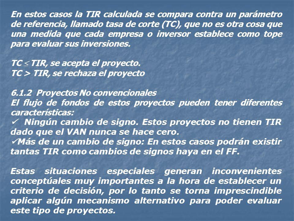 Tasa Interna de Retorno (TIR) Este método es un caso particular en donde la tasa de corte, llamada TIR, hace al VAN igual a cero. Matemáticamente: n V