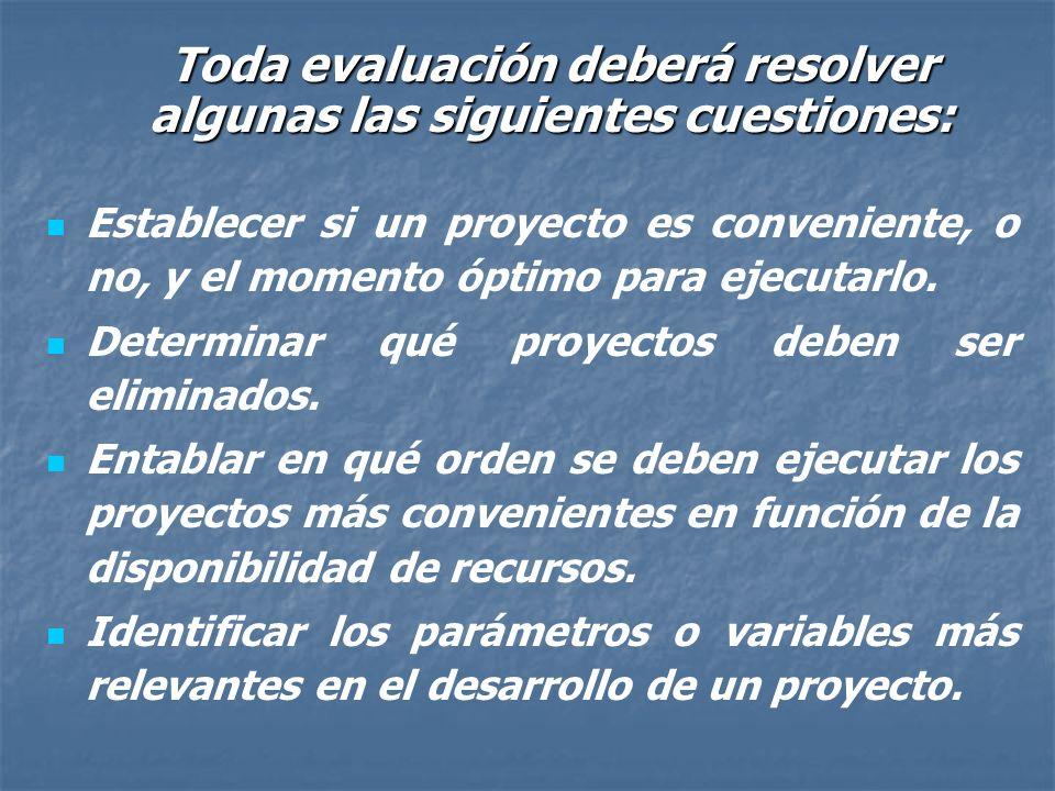 Rol de la evaluación de proyectos: Optimizar la asignación de recursos disponibles mediante la selección de aquellos proyectos que generen mayor valor