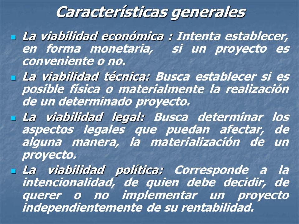 Características generales En términos económicos un proyecto será factible si sus beneficios superan a sus costos, entendiendo por beneficio a todo in
