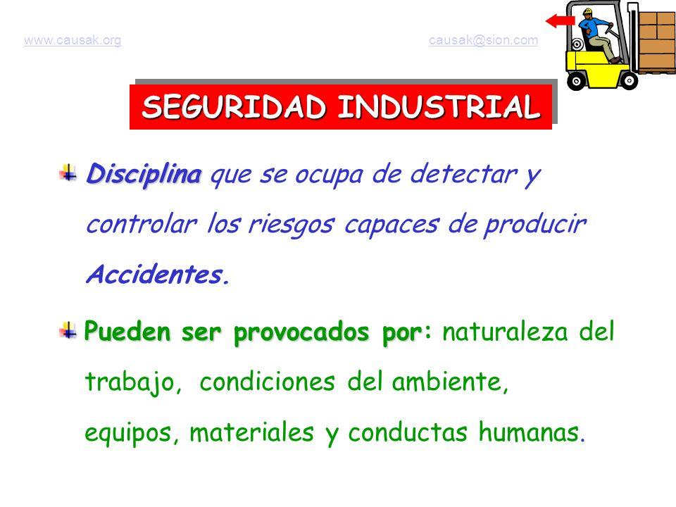 SEGURIDAD INDUSTRIAL Disciplina Disciplina que se ocupa de detectar y controlar los riesgos capaces de producir Accidentes. Pueden ser provocados por